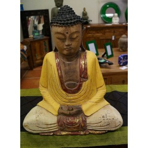 Wooden Carved Sitting Buddha