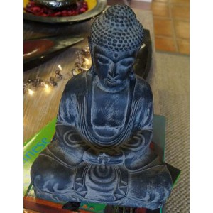 Dark Fibre Resin Sitting Buddha