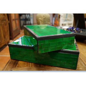 Green Mosaic Jewllery Box Set (0f 2)