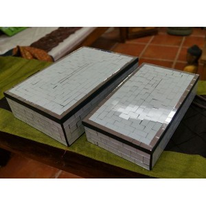 White  Mosaic Jewllery Box Set (0f 2)
