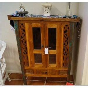 Boat Teak Glass Cabinet with Drawer