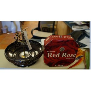 Asian Inspired Incense Coil and Holder Package (Red Rose Coils)