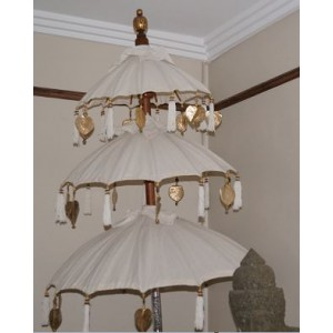 3 Tiered White  Outdoor Umbrella