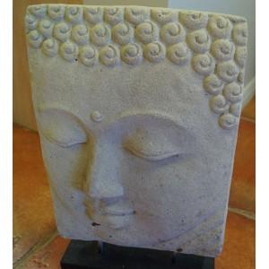 Stone Buddha Face on Stand