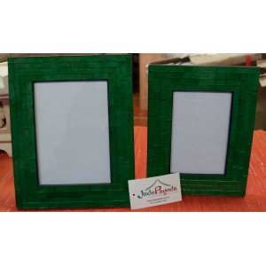 Green Mosaic Picture Frame Set  (0f 2)
