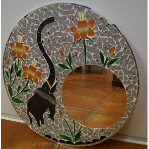 Orange  Elephant Mosaic Mirror
