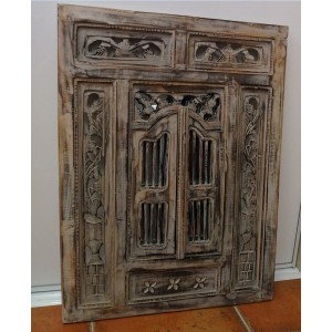 Large Black Wash Prison Mirror