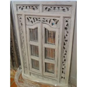 Large  White Wash Prison Mirror