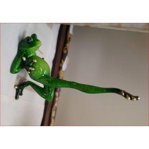 Green Marble Yoga Frog ( Extended Leg)
