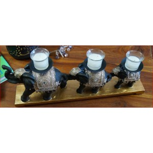 Triple Elephant Candle Holder