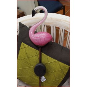 Pink Glass Flamingo Solar Light on Stake